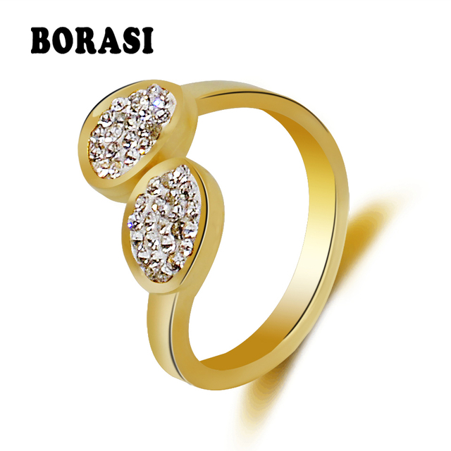 BORASI Fashion Double Oval Circle Crystal Ring 316L Stainless steel jewelry Rhin