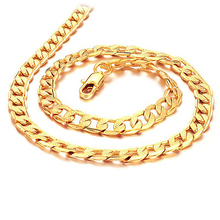 HOT SALE Fashion chain Men's 20″ 7MM Gold-Plated Steel male Necklaces for men KL441