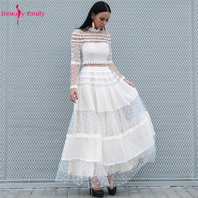 Beauty Emily 2019 New Long High Neck Long Sleeve Evening Dresses Lace Hollow Splice Formal Gown Polka Dot DresS Vestido De Noche(China)