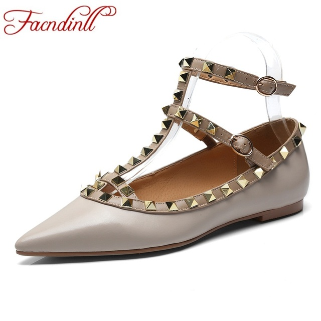 FACNDINLL women shoes new fashion genuine leather flats shoes 2019 new spring summer flat heel shoes woman dress casual shoes