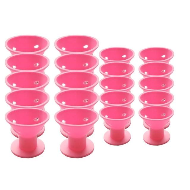 20 piezas pelo mágico rosa sin Clip sin rizadores de pelo de silicona caliente herramientas profesionales para el cabello
