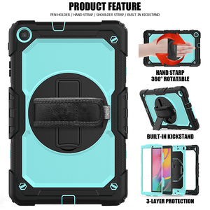 Image 5 - Case for Samsung Galaxy Tab A 10.1 2019 SM T510 SM T515 T510 T515 Hybrid Armor Protective Case with 360 Rotating Stand& Strap