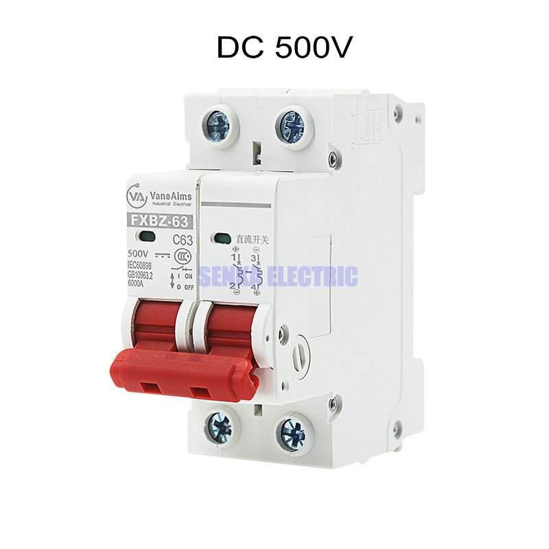 2P DC 500V Solar Mini Circuit Breaker 6A/10A/16A/20A/25A/32A/40A/50A/63A DC Air Switch MCB chnt chint leakage protector nbe7le 3p n 16a 20a 25a 32a 40a 63a small circuit breaker air switch