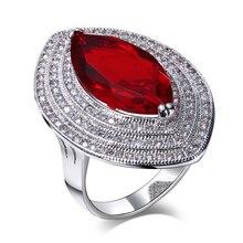 Diseñador de la joyería de Lujo de cóctel 5 colores del ojo del Caballo Sintético cubic zirconia Mujeres grandes anillos de moda