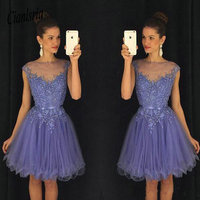 Lavender Sheer Crew Neck Homecoming Dresses Cap Sleeves Lace Appliques Beaded Short Party Dresses with Belt Backless Mini Dress