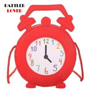 Joli dessin animé rose réveil Style rond sac à bandoulière de jeune fille fourre-tout sac à bandoulière Mini sac pour enfants sac à main fourre-tout sac à main