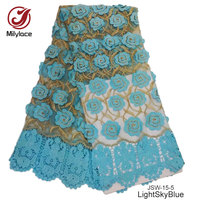 Good Quality French Lace Fabric 3 D Flowers Tulle Lace Fabric Skyblue Embroidery Net Lace Party