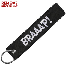 New Fashion Car keychain BRAAAP Embroidery key chain Motorcycles and Cars Gifts Tag Key Fobs Holder OEM Keychain Keyring Bijoux