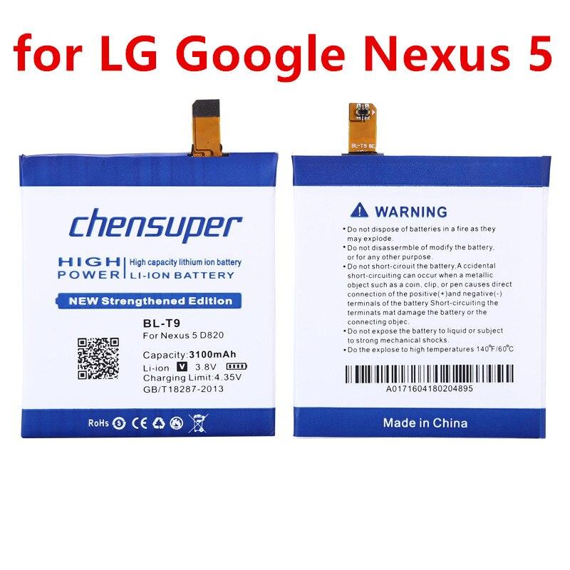Di alta Qualità 3100 mAh BL-T9 BL T9 Batteria per LG Google Nexus 5 E980 Nexus G D820 D821