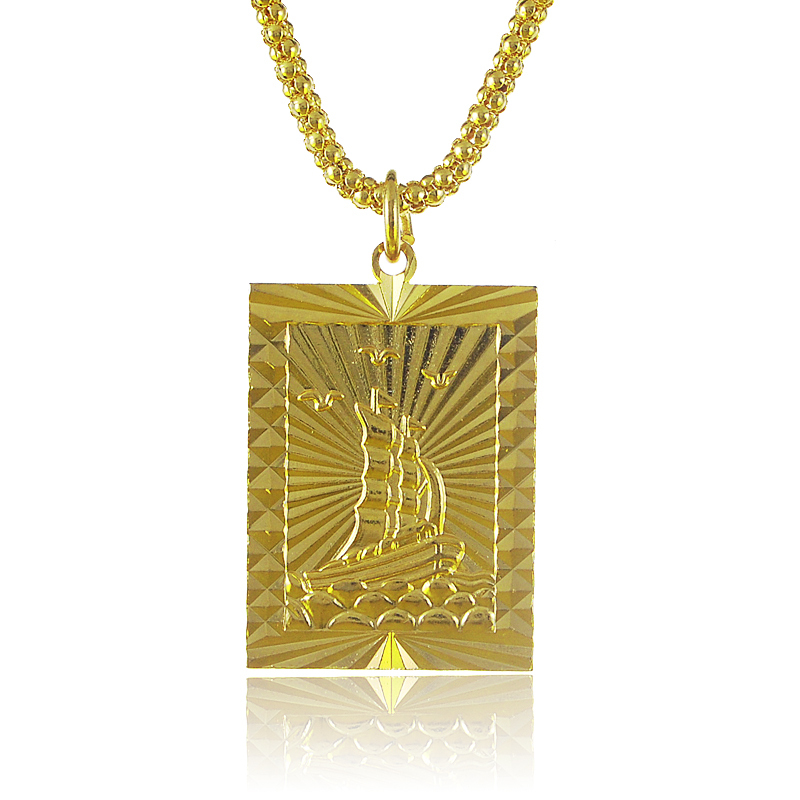 gold s pendant amazon plated necklace steel with christopher stainless com saint rectangular dp chain medal filled men
