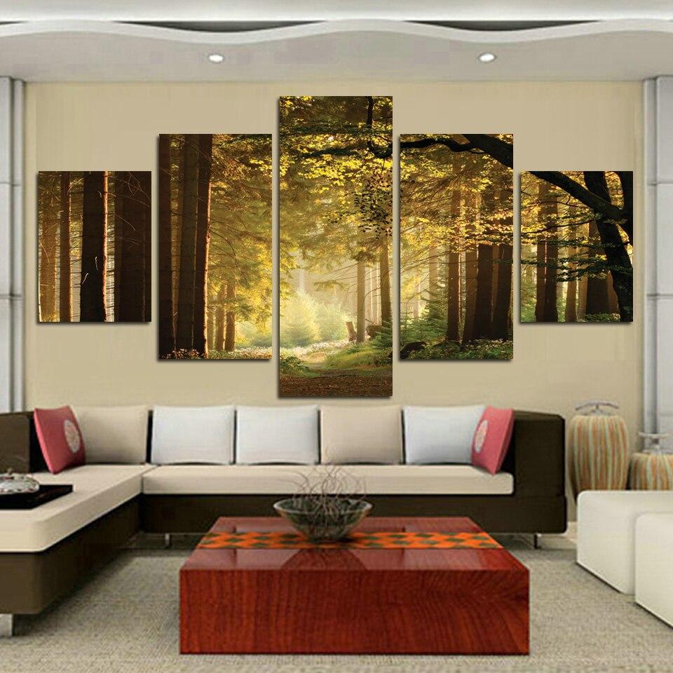 Aliexpress.com : Buy 5 Panel Art Forest Street Landscape