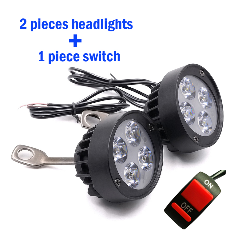 2PCS Motorcycle Spotlight Headlights 12V LED Moto Side Mirror Lights Motorbike Driving Headlamps Spot Work Lamp With Switch