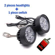 2 шт. Moto rcycle Spotlight фары для В автомобиля 12 светодио дный в LED зеркала огни rbike вождения Налобные фонарики пятно работы лампа с выключателем