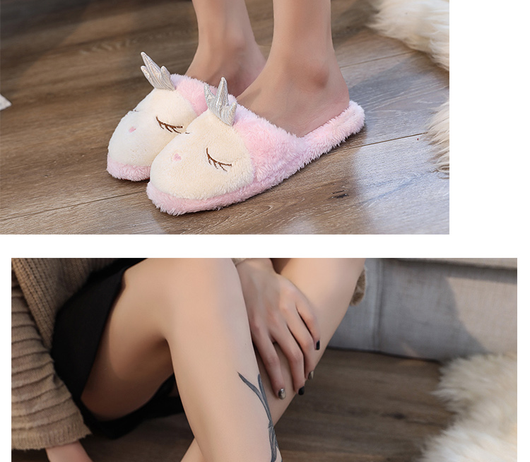 3f5fd44d5 Lovely Women Home Slippers Warm Winter Cute Indoor House Shoes Woman Pink  Soft Bottom Bedroom Ladies Flats Slip On Flip Flops