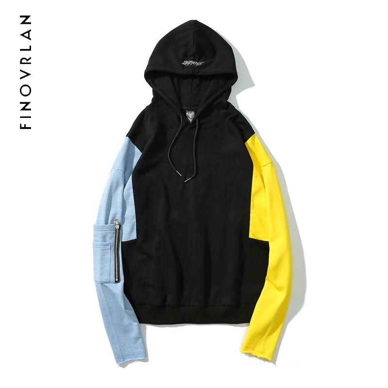 2018 Long Sleeve Patchwork Mens Hoodies Pockets Hip Hop New Design Warm Hoodie Sweatshirt Jacket Cool Sweat Homme Cotton hoodie