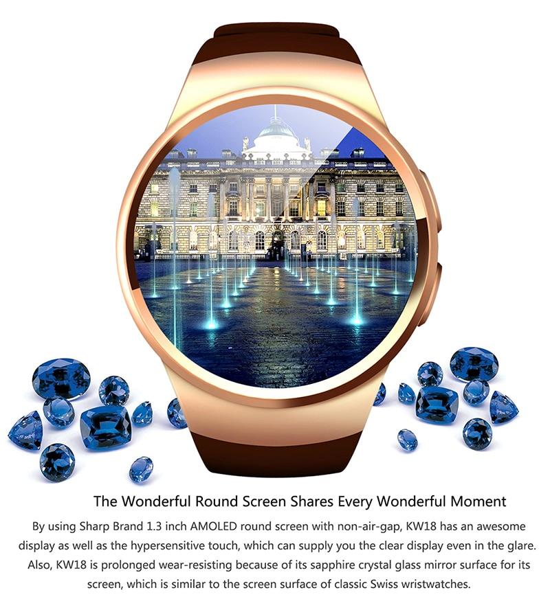 bb472dc1437 KW18 originais relógio de Pulso Relógio Inteligente Conectado Para ...