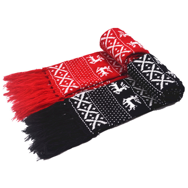 Christmas Scarf.Us 6 99 30 Off Reindeer Christmas Scarf For Couple Lovers Black Red X Mas Knitted Shawl Double Shelf Knitting Scarf Wrap With Long Tassel Yg492 In