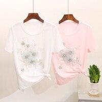 Summer Women T Shirt Flower Diamond Top Round Neck Floral Shape Blusa Short Sleeve Woman Shirts