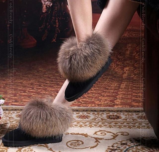 Природные Большой Лисий Мех женская Зима Снег Сапоги Высочайшее Качество хлопок Сапоги Зима Корова Мышцы Круглым Носком 100% Натуральная Кожа сапоги