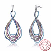 Ethnic Style 925 Sterling Silver Water Drop Earring With Shiny Multicolor Cubic Zirconia For Women Girl