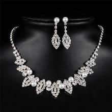 Costume Design Eye Drop Earring Wedding Jewelry Sets Women Fashion Crystal Bridal Copper Alloy