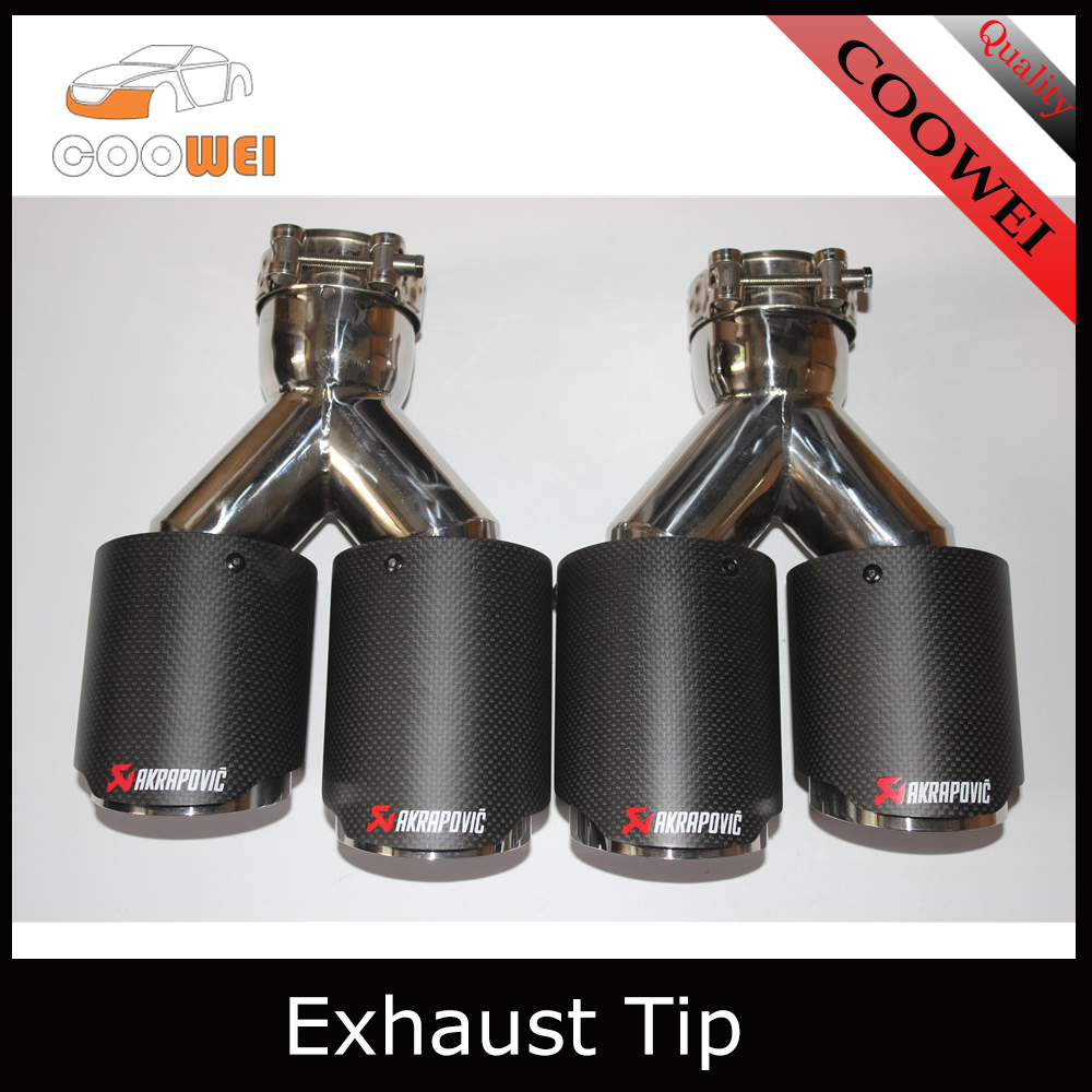 Car Styling 2pcs outlet76mm Akrapovic carbon exhaust tip double for Audi muffler exhaust pipe