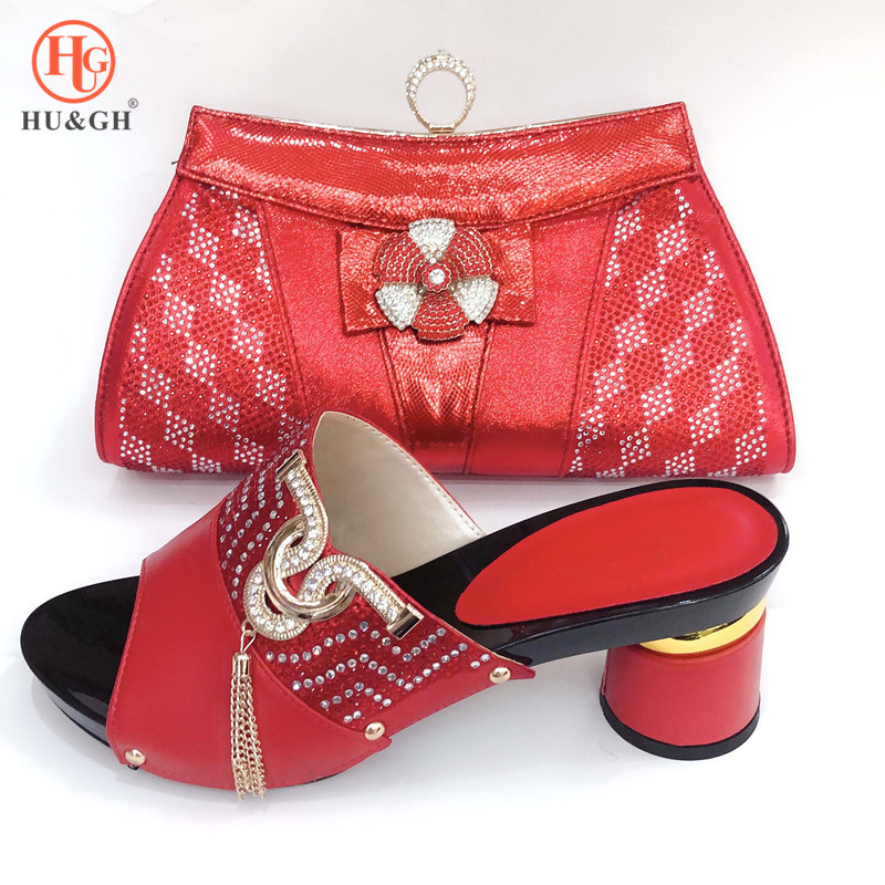 New Arrival Red Color Italian Shoes and Bags To Match Shoes with Bag Sets Wedding Sandals
