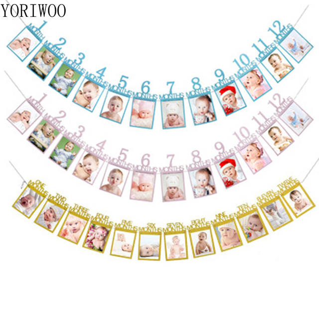 yoriwoo baby shower 1st birthday 1 12 months wall photo frame i am
