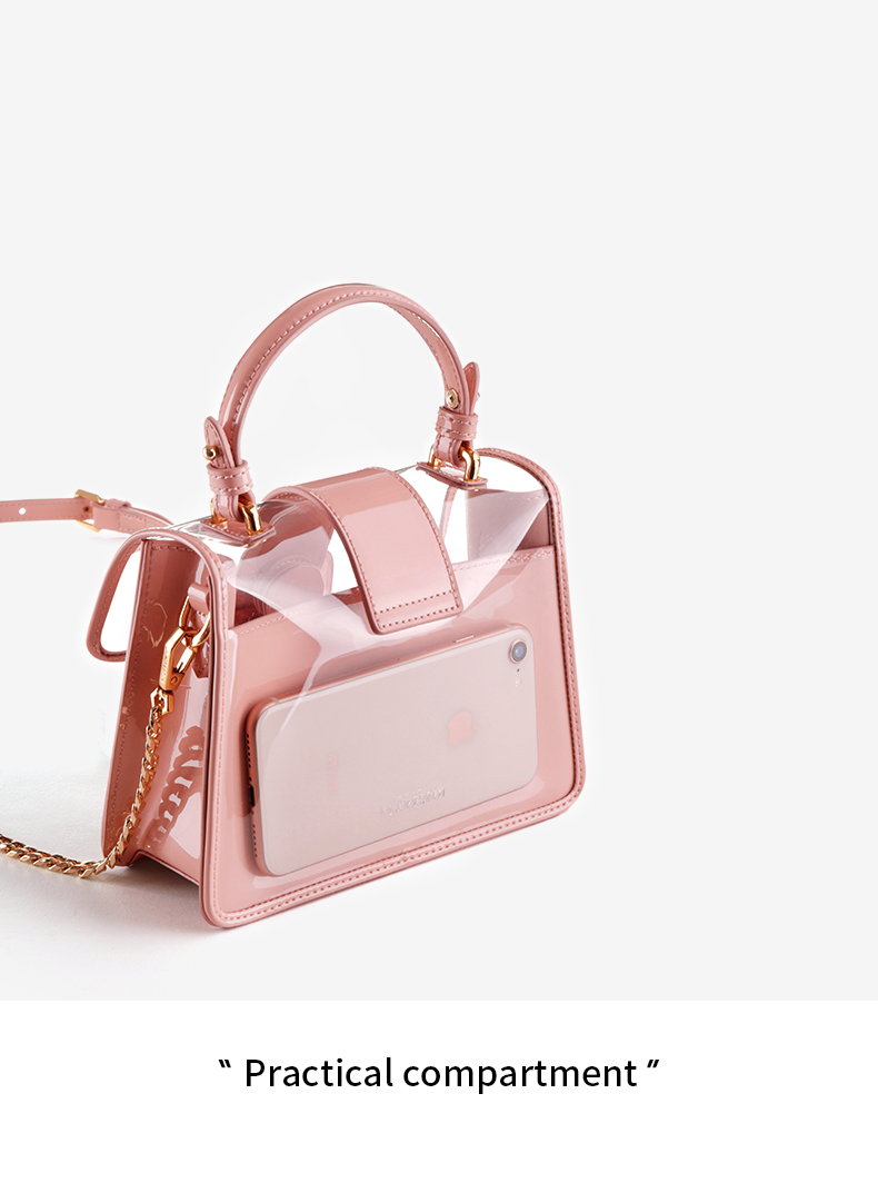 LAFESTIN Women Candy Jelly Shoulder Bag Ice Cream Pattern Flap Clear ... 91c837695d4e7