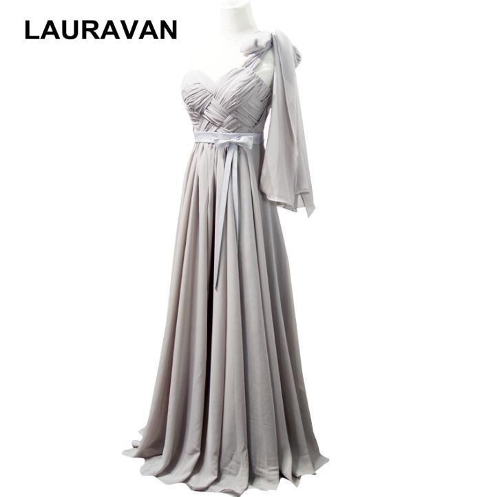 Long Elegant Floor Length Gray Chiffon One Shoulder Sweet Dress