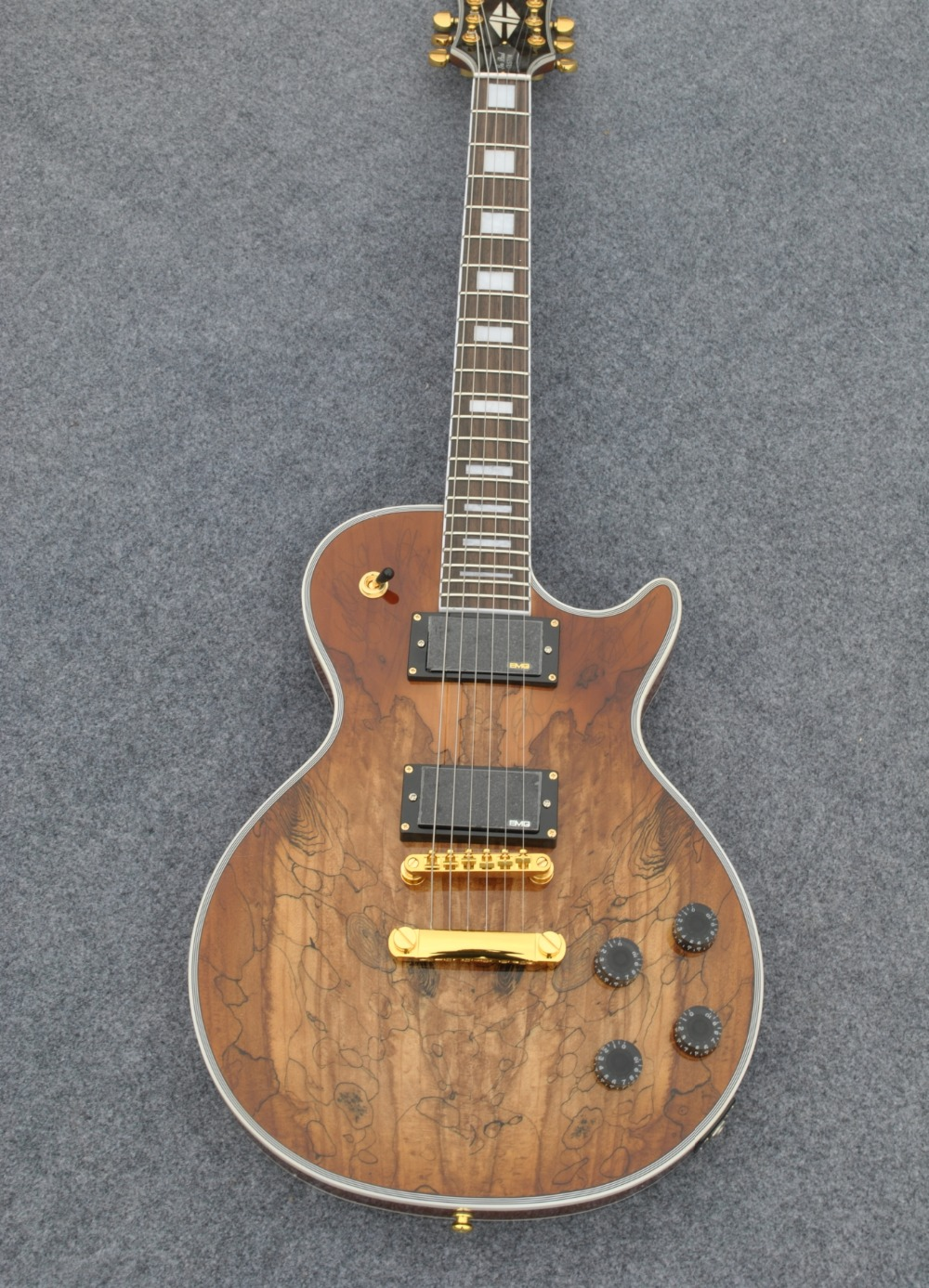 En stock! Guitare électrique Vente Chaude LP Carte marron transparent Personnalisé Guitare Électrique 6 Cordes Guitares + Usine OEM de haute qualité