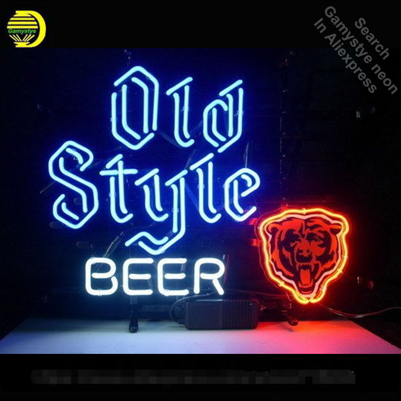 Neon Sign for N ew Old Style Bear Neon Bulb Sign Beer Bar Pub Decoration Neon Tube Sign handcraft Publicidad Sign Store Displays