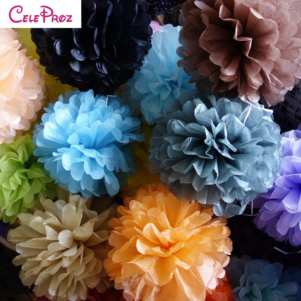 (10pcs/Lot) 4 inch 10cm Tissue Paper Pom Poms Flower Balls Pompons for Wedding Party Event Decoration 24 Colors