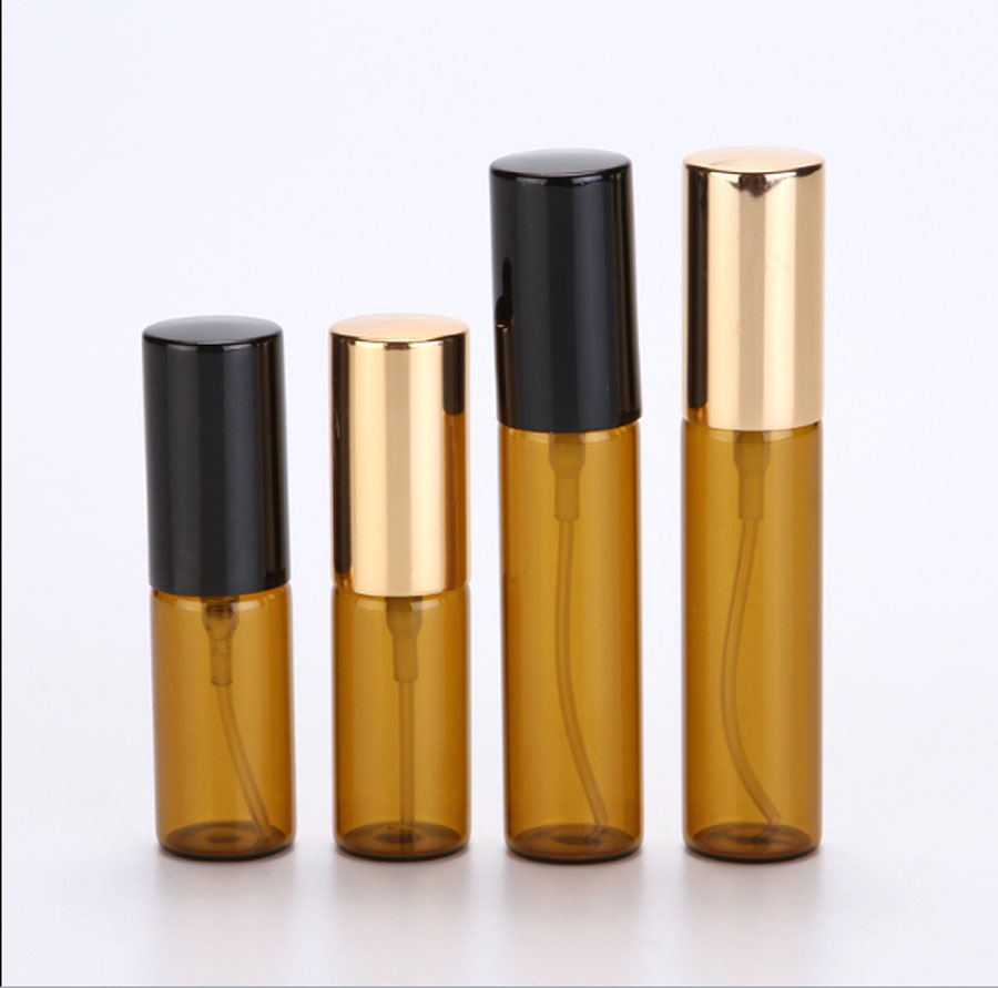 300 x 5ml 10ml Amber Portable Refillable Atomizer Glass bottle Spray 1 3oz 1 6oz Fragrance