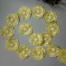 1 yard Yellow Pearl Beaded Embroidered Flower Lace Edge Trim Floral Applique Patches Fabric Sewing Craft Vintage Wedding Dress pearl beaded lettuce edge crop tee