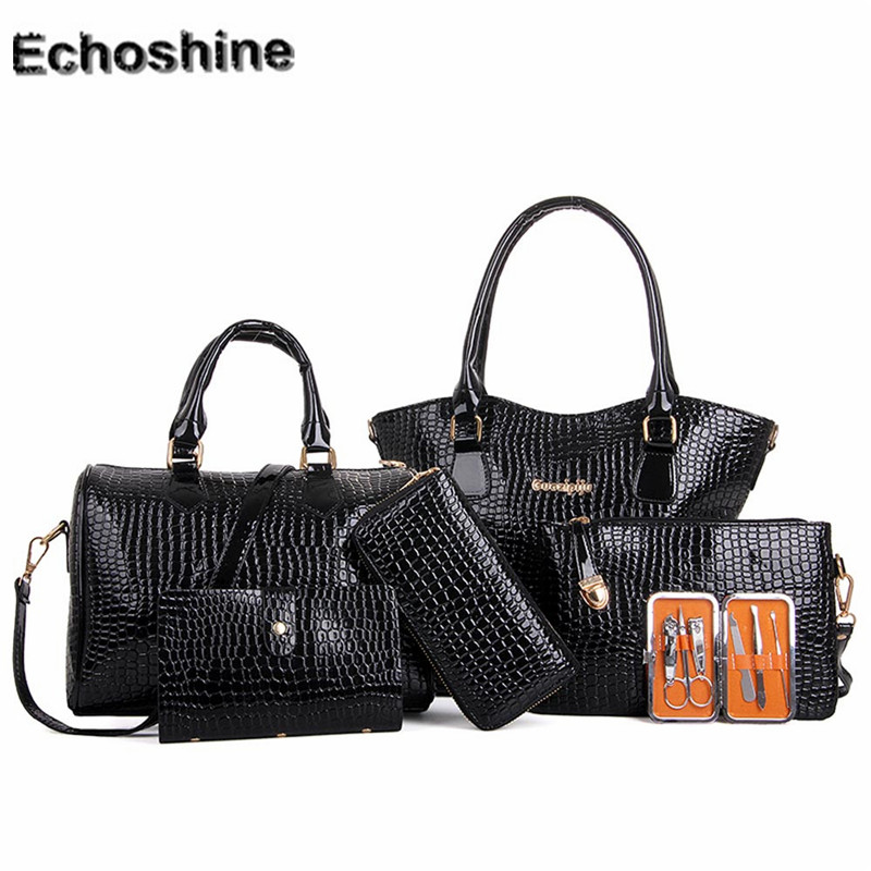 2016 PU Leather Women Six Set Fashion Handbag Shoulder Bags Six Pieces Tote Bag Cross body Bag messenger bag wholesale A0000 faux leather minimalist practical 3 pieces tote bag set page 3