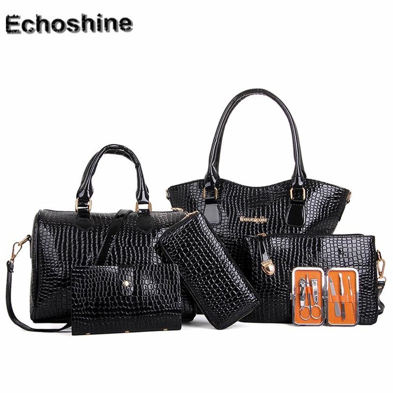2016 PU Leather Women Six Set Fashion Handbag Shoulder Bags Six Pieces Tote Bag Crossbody Bag messenger bag wholesale A0000 chic minimalist faux leather 2 pieces shoulder bag set