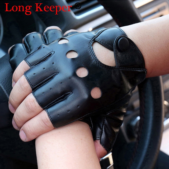 1 ペア女性の半分指ドライビンググローブ 1 ピースファッション PU 革の指なし手袋黒、白 Guantes Luvas g320
