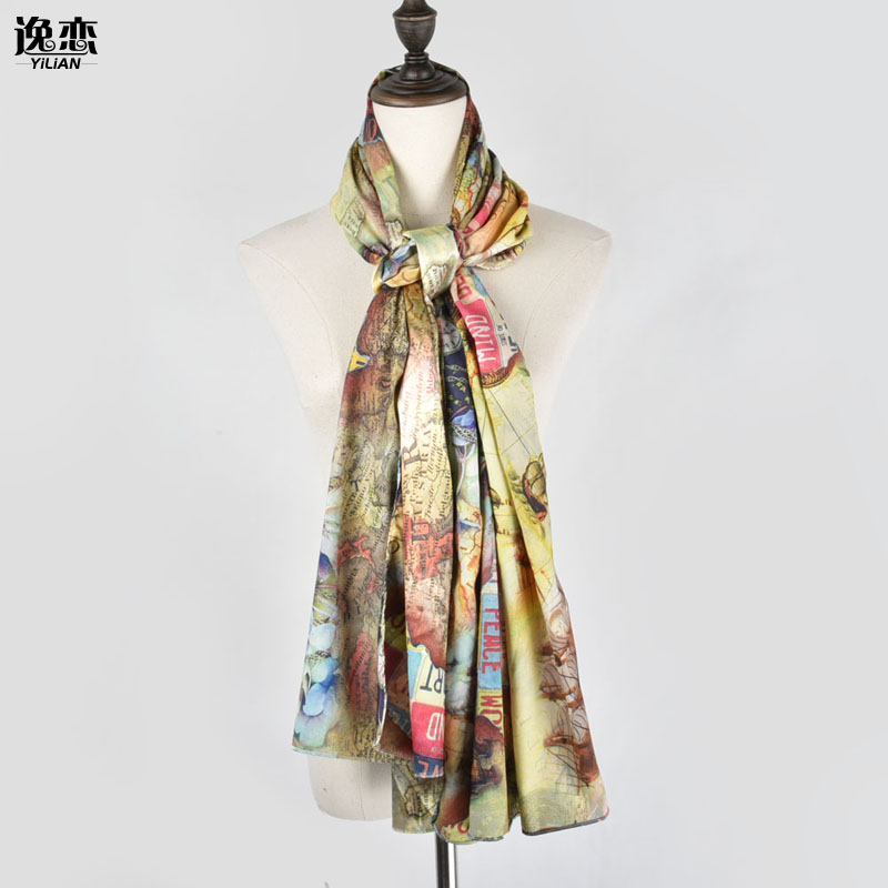 Useful F&u Fashion Women Scarf Long Soft Flowers Painting Gradient Color Wrap Ladies Polyester Scarves Luxury Fashion Shawl In 4 Season Elegant In Style Women's Scarves