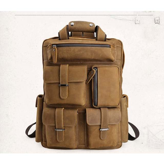 2477c1e31d85 Tiding Luxury Italian Crazy Horse Leather Large Backpacks with Multi  Pockets Vintage Men Travel Rucksack Weekend