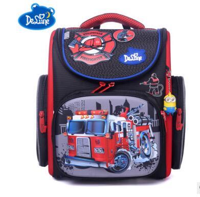 России известный ортопедический рюкзак Delune школьные сумки для девочек собака печать Ultralight школьный рюкзак черный для основной детей