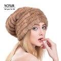 YCFUR Moda Mujeres Gorros de Piel De Invierno de Punto Genuino de la piel de Visón sombreros Calientes del Invierno Real de Piel De Visón Gorros Sombreros Para Las Niñas YH178