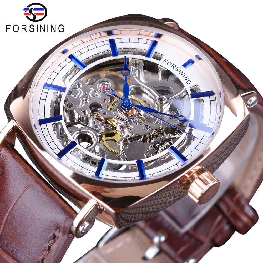 Forsining Brown Genuine Leather Fashion Classic Design Mens Watch Top Brand Luxury Blue Hands Royal Automatic Mechanical Watches forsining classic series black genuine leather strap 3 dial 6 hands men watch top brand luxury automatic mechanical watch clock