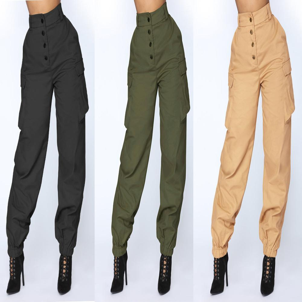 Streetwear Cargo   Pants   Women Camo High Waist Hip Hop Trousers   Pants   Military Joggers Ankle-length   Pants     Capris   PT005