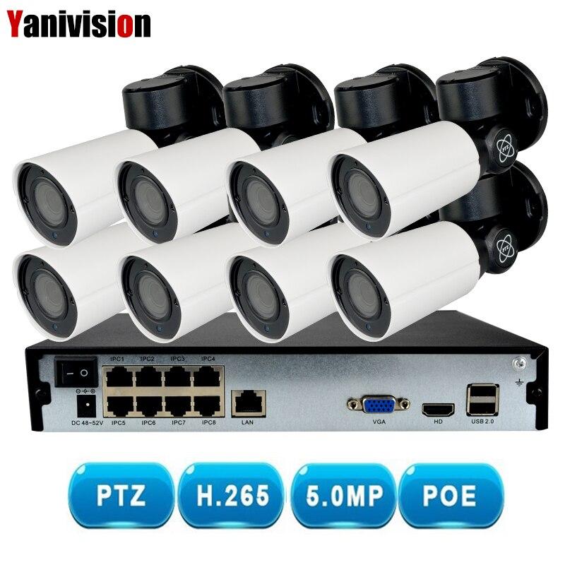 8CH H.265 PTZ 5.0MP POE 4X Zoom NVR Kit CCTV Système IP Caméra Extérieure Imperméable Vidéo Surveillance de Sécurité Ensemble de Nuit vision