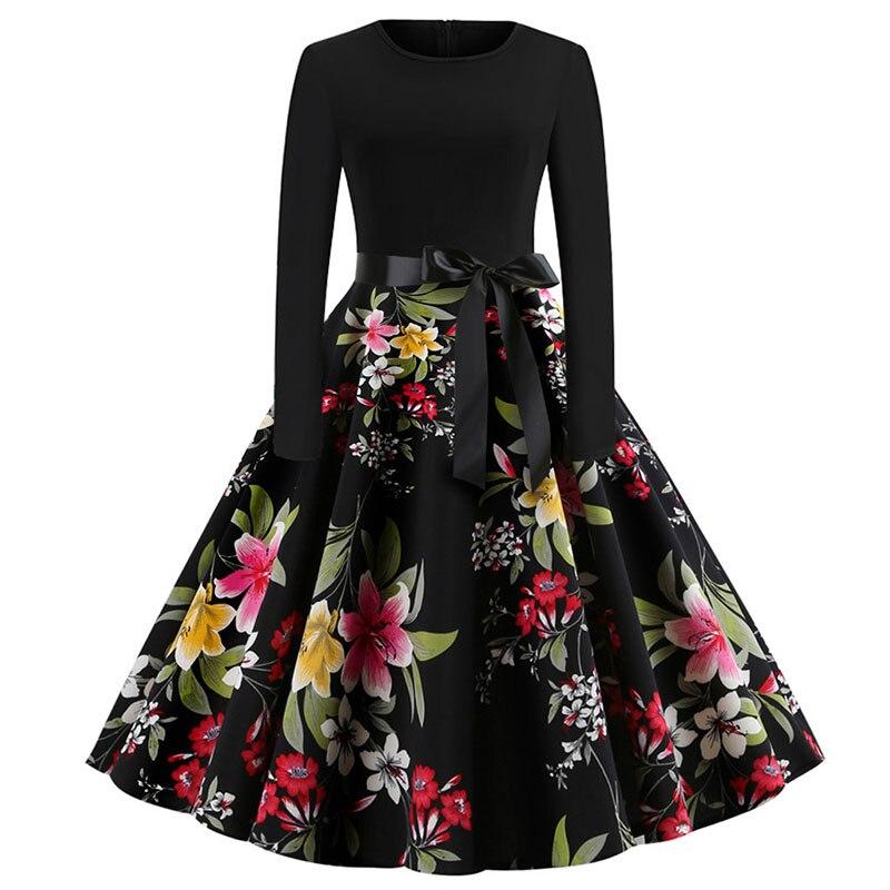 Plaid Print Vintage Dress Women 19 Christmas Casual Robe Femme Plus Size Dress Elegant Party Dresses Long Sleeve Vestidos 59
