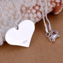 Crystal heart Tag TIF pendants 925 logo silver plated Women's necklaces 20'' snake chains For woman Valentine's Day Gift