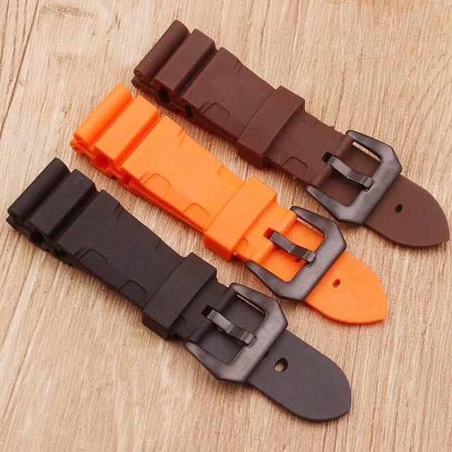 Watch accessories sweat-absorbent silicone strap for Panerai 1950 series PAM00616 00682 waterproof rubber 24mm men's watch belt