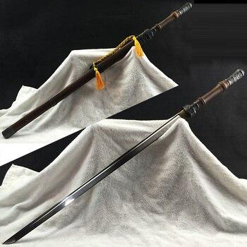 Espada China 1045 hoja de acero al carbono completa Tang Sharp espada coreana Samurai rosa madera aleación de Zinc decoración suministro
