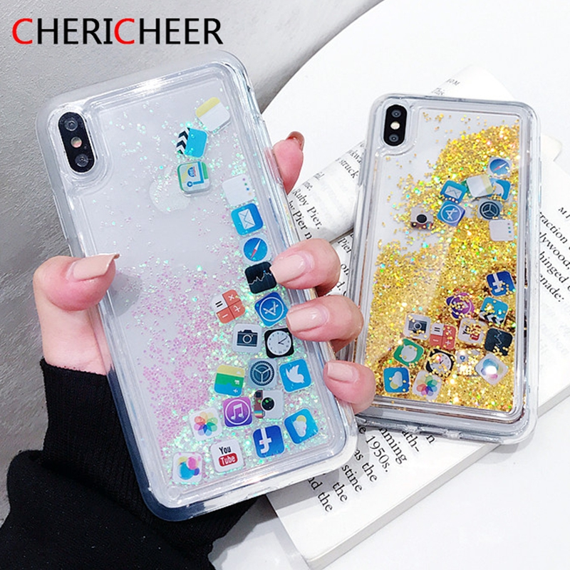 Case For iPhone 6S 6 7 8 Plus Glitter Gold Sand Silicone Case For iPhone XR X XS Max APP icon TPU Liquid Cover For iPhone 7 Case image